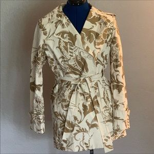 Cabin floral print trench coat size M
